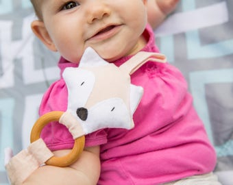Montessori teether, Pink teething toy, Organic teething ring, Wooden teether animal, Fox baby toy, Natural gift for new baby