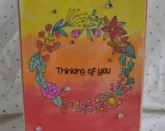 Handmade card, card, thinking of you, thinking of you card, flower card, watercolour card, handmade, watercolour