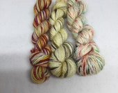 Hand dyed mini skeins in a Valentine trio pack perfect for a contrast heel and toe or you memory blanket   Valentine yarn