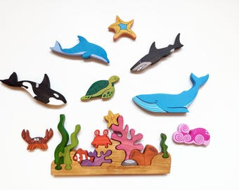 Big Sea Set Ocean animals Play set Marine toys Waldorf nature table Coral reef puzzle Learning toys for toddlers  Sea creatures