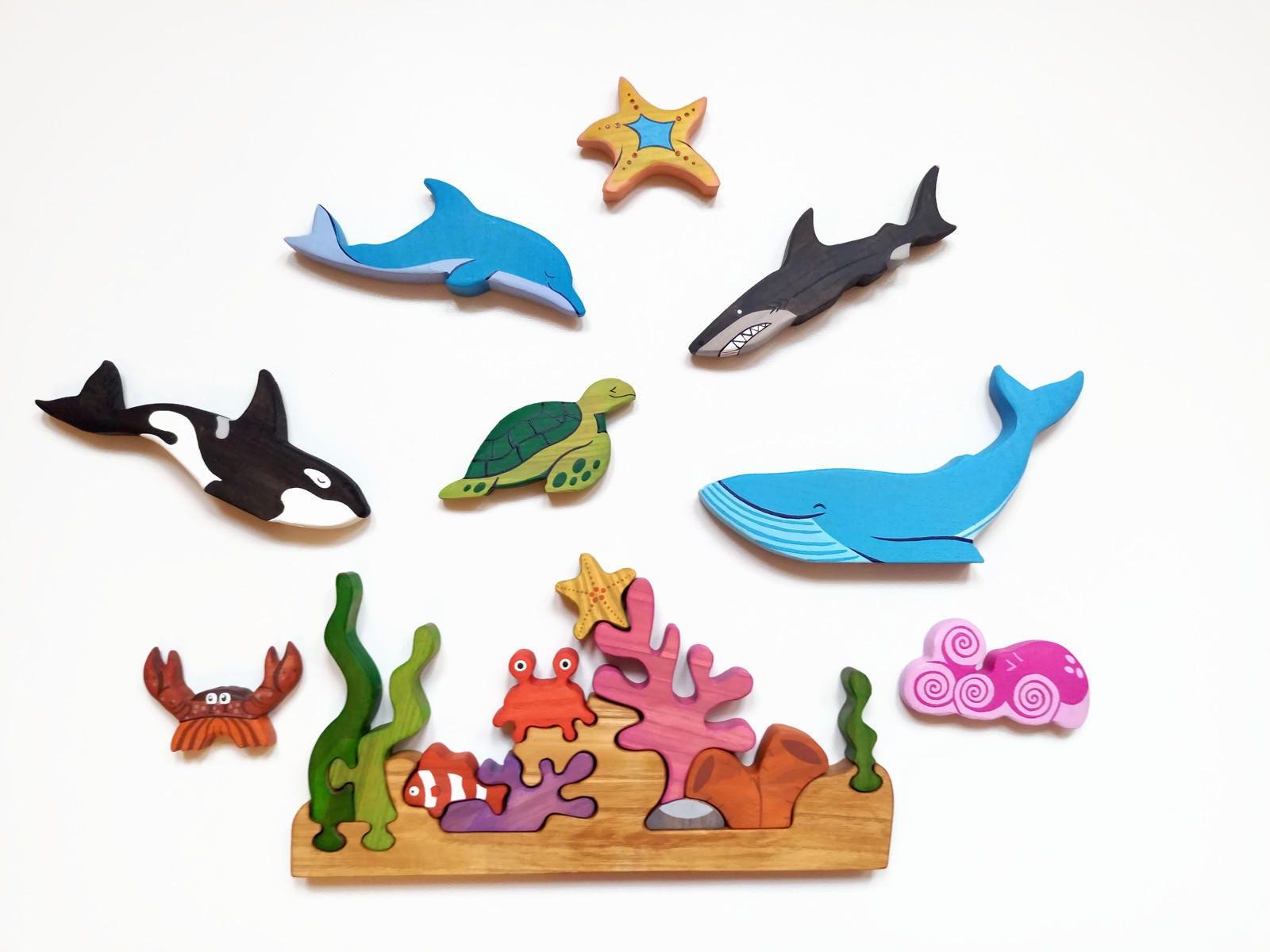 Big Sea Set Ocean animals Play set Marine toys Waldorf nature