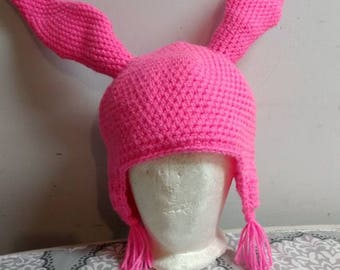 Pink Bunny Crochet Ear Flap Hat