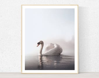 Swan wall art print, digital art print with instant download, modern printable art, swan art, minimal art, scandnavian print