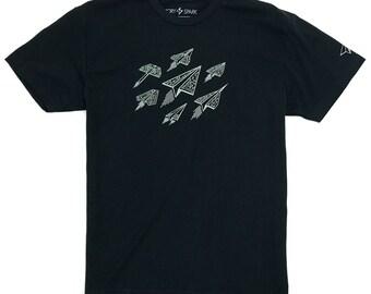 Technology shirt, Paper Airplanes T-shirt, Tech Guy, Gifts for Guys, Scifi t-shirt, Spaceship t-shirt, Geek gift, Science Nerd shirt