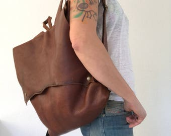 Chocolate brown pull-up leather backpack, handstitched leather backpack, unisex