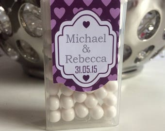 Personalised Tic Tacs Wedding or Engagement With Smal Heart Background