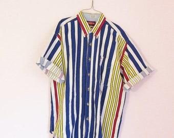 SALE 15% OFF Vintage 90s Graphic Stripe Button Up Shirt - Size M