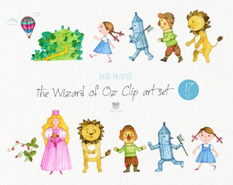 Watercolor clip art, the wizard of Oz, dorothy, lion, tin woodman, scarecrow, vector, nursery art, instant download, commercial use