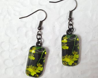 Tropical Flowers Glass Rectangle Earrings Flower Earrings Nature Jewelry Photo Jewelry Dangle Earrings Flower Jewelry Tropical Jewelry