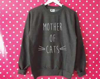 Mother Of Cats Unisex Sweatshirt. Funny Cat Sweatshirt. Cat Sweater. Crazy Cat Lady. Kitten Mommy. Cat Lovers Gift. XS-3XL