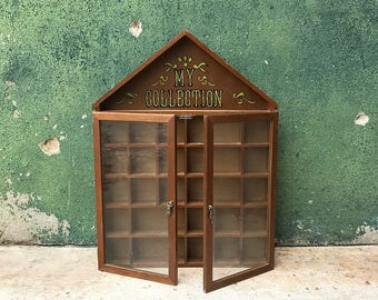 Vintage My Collection Wooden Hanging House Shaped  Knick Knack Shelf Cabinet | Miniatures Display