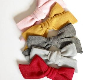 Linen Bows // Hand Tied, Schoolgirl, Linen Bows