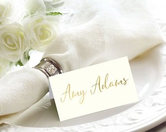 Ivory and Gold Foil Script Wedding Place / Escort / Name Cards, Flat or Tented, Handmade, Also in Rose Gold, Copper, or Silver Foil