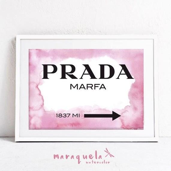 DISCOUNT PRADA Marfa background Watercolor. Apartment Gossip Girl Lily van der Woodsen WallArt Poster, Decor Sign NY Fashion cute girls room