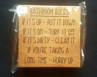 BATHROOM RULES -  Funny Free standing OAK bathroom sign - wooden Sign Plaque New Home gift House Gift