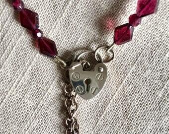 Garnet & Rubellite Beaded Padlock Necklace