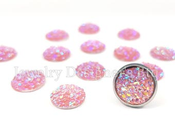 10mm Druzy Cabochon Iridescent Resin Faux Druzy Drusy Cabochons Kawaii Cabs Fits 10mm Flat Round Bezel Light Pink