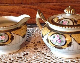 Noritake Cream and Sugar Handpainted Vintage