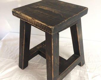 Reclaimed pine stool