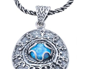 Silver Pendant, synth Opal pendant, Gemstone pendant, Rock crystal, Sterling silver, handmade