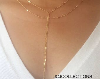Gold Double Strand Y Necklace, Lariat Necklace, Boho Necklace