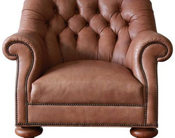 SOLD - Baker Furniture Brown Leather Chesterfield Club Lounge Chair