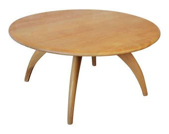 SOLD - Heywood Wakefield Mid-Century Modern Wishbone Lazy Susan Round Coffee Table