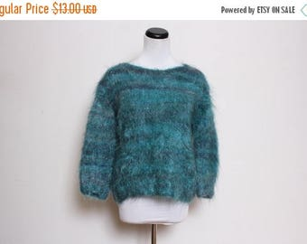 25% OFF VTG 90s Blue Green Fuzzy Striped Baby Sweater M/L