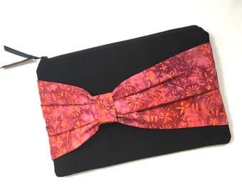 Clutch Handbag - Zipper Clutch Bag - Women's Clutch Bag - Bow Clutch Bag - Fabric Clutch Handbag