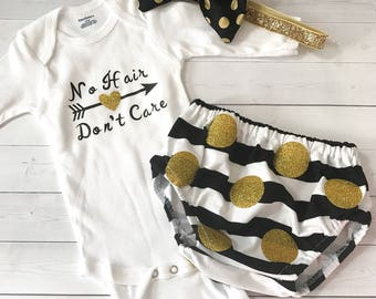 No Hair Don't Care Black Gold and White Onesie with Black and White Striped Gold Glitter Polka Dots Diaper Cover Bloomers
