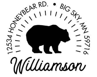 "Bear Return Address Stamp, Woodland Animal Stamp, Wooden Stamp, 2"" x 2"", 112WS08"