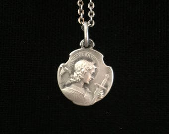 RARE antique french joan of arc  jeanne d arc -gods warrior amulet necklace