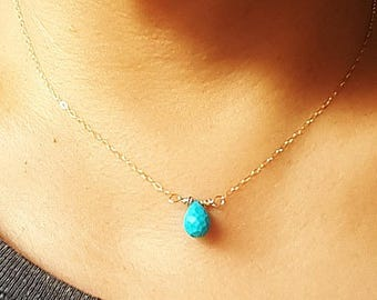 Small Turquoise Necklace, December Birthstone, Gold necklace, Turquoise jewelry, Turquoise Jewellery, Bridesmaid Gift