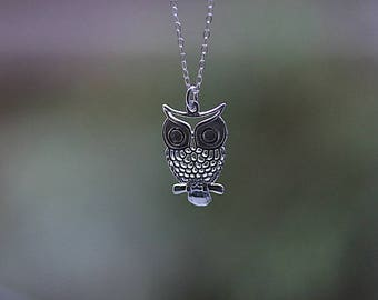 Owl Necklace - Silver Owl Pendant Necklace - Sterling Silver Owl - Owl Jewelry - Bird necklace -  Owl Jewellery - Gift for Her