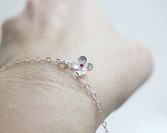 Sterling Silver Flower Bracelet with Lab grown Ruby - Silver Flower Bracelet-Bridesmaid Bracelet - Gift for Mom - Gift for her