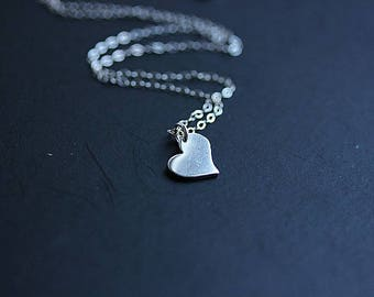 Love Heart, Silver Valentine Heart necklace, Sterling Silver Heart necklace,Heart Jewelry, Gift for her, Heart Pendant