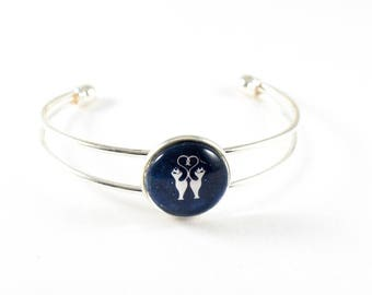 Bracelet stiff cats blue cabochon glass