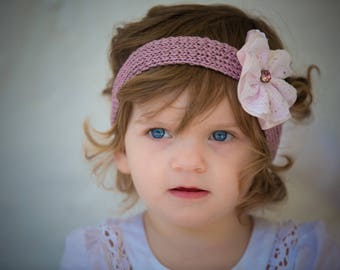 Pink and white baby headband with satin flower and swarovski crystal