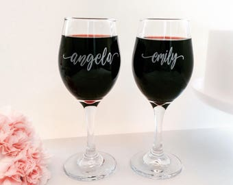 Personalized Wine Glass, Bridesmaid Gift, Wine Glasses, Will You Be My Bridesmaid, Bridesmaid Glasses, Drinking Favors, Wedding Favor