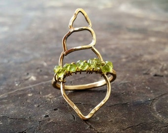 Seashell Ring Peridot Statement Ring Brass Peridot Ring Sterling Silver Peridot Ring August Birthstone Ring Nautical Ring Seashell Jewelry