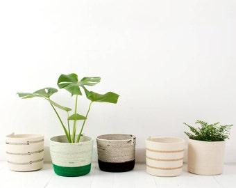 Cylinder Shaped Coiled Rope Basket / Bathroom Storage / Planter
