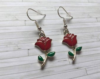 Rose Earrings, Rose, Red Rose Earrings, Rose Jewellery, Enchanted Rose, Gift for Her, Gift for Friend, Birthday Gift