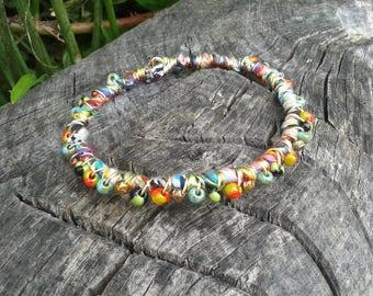 Beaded brass bangle rainbow ribbon wire wrapped glass bead Boho chic Bracelet