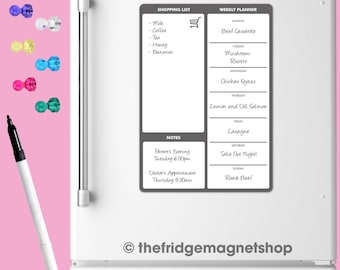 Magnetic Meal Planner Day Weekly Memo Board Whiteboard Fridge A4 Dry Wipe Family Prep [Grey]