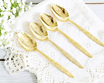 Set of Four Gold Teaspoons with Ornate Pattern | Gold Flatware, Gold Spoons, Ornate Spoons, Pretty Gold Teaspoons, Gold Cutlery