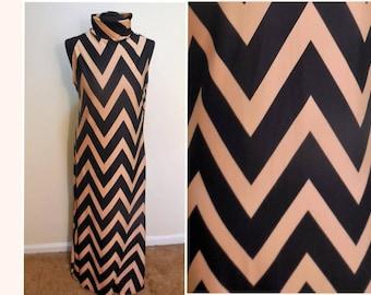 Maxi Dress Jersey 16 Size Sleeveless Knit Long Women's Clothing Retro Vintage Clothes Chevron Print Black Taupe Colors