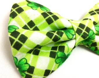 Shamrock Plaid Bow Tie for Dogs | St Patrick's Day Bow Tie for Dogs | Dog Bow Tie