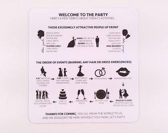 Modern Wedding Program/ Minimalist Wedding Program/ Black and White Wedding Program/ Funny Program/ Wedding Program/ Black and White Wedding