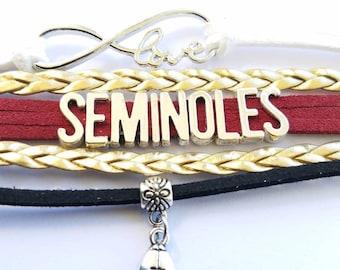 Florida State Seminoles bracelet - Noles - FSU - university - football - silver color letters - silver color charm