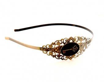 Headband Black Lace bronze vintage key
